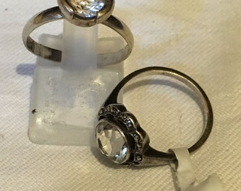 Choice of two vintage silver and cz solitaire rings