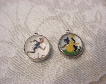CHOICE ~ Antique Vintage Intaglio Reversed Painted Crystal Sterling Silver Charm ~ CAT and The Fiddle or JACK b Nimble