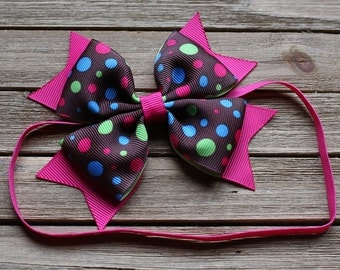 Baby headband - pink and brown polka dot baby headband - cute headband for babies and toddlers