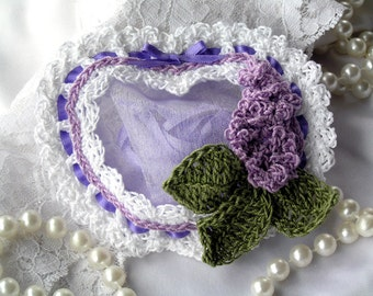 Crochet Heart Sachet, lilac, scented sachet, sachet drawer, potpourri, mothers day gift, air freshener, wedding gift, birthday gift, favor