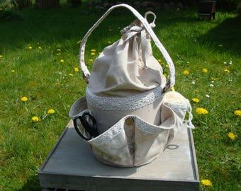 Workbasket sewing basket,wool basket Patchwork Shabby 4