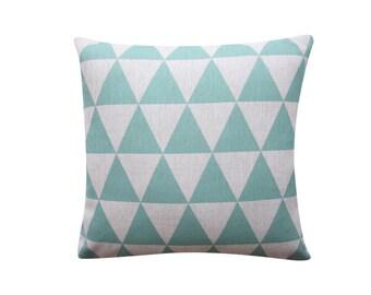 "Mint Triangles Pillow Cover, Geometric Cushion, 18"" x 18"" Decorative Pillow Cover Cushion Cover Kids Room Throw Pillow 122"