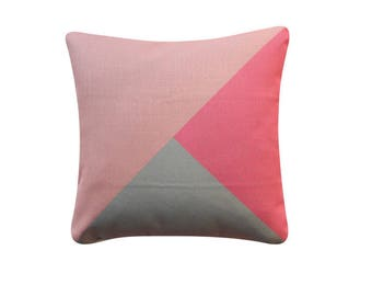 """20"""" x 20"""" Color Block Pink Grey Tricolor Pillow Cover Geometric Pattern Color Block Cushion Cover Throw Cushion Cover 221"""