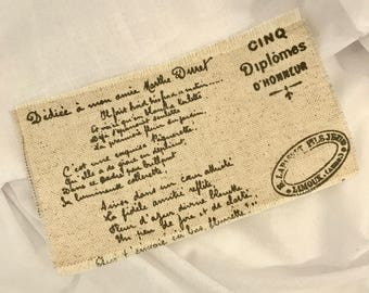 French Linen Script Fabric Remnant with Frayed Edge. 16 x 9.5cm. Craft fabric idea from Australia