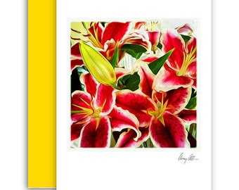 Tinkle Me pink  Note cards beautiful Artwork Lilies