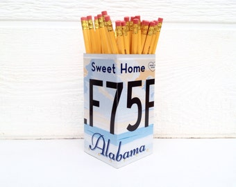 Alabama License Plate - Pencil Holder - Office Organizer - Valentines Day Gift - Pencil Box - Desk Organizer - Gift for Him - Home Office