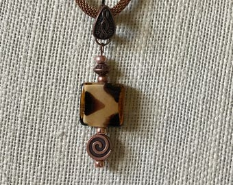 Animal Print Pendant Necklace With Copper Mesh