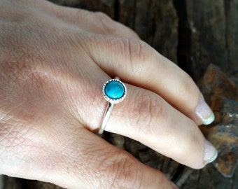 Turquoise ring, Simple stack ring, Sterling stack Turquoise Ring, gemstone Ring, Round Turquoise Ring, December Birthstone Ring, gift to her