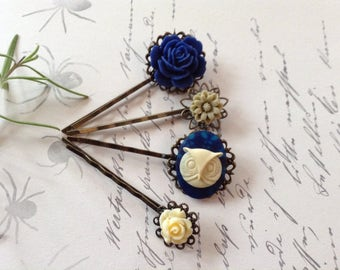 Navy And Ivory Owl And Floral Hair Clipss