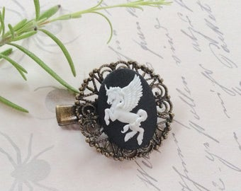 Pretty White on Black Pegasus Alligator Hair Clip