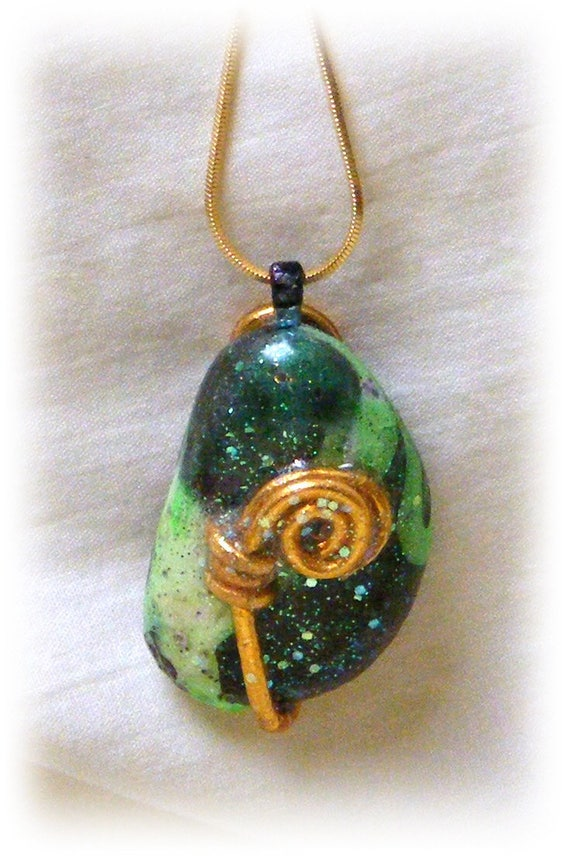 Beautiful Hand Painted Rock Pendant And Necklace #75