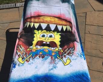 SpongeBob Shark Bites Beach Towel - Personalized Beach Towel