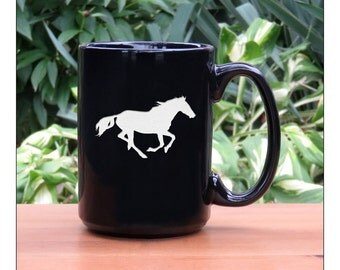 Horse Coffee Mug / Running Horse Etched 15 oz Coffee Cup / Animal Tea Mug / Ceramic Coffee Mug / Mug for Tea, Coffee, or Hot Chocolate
