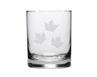 Maple Leaf Whisky Glass / Free Personalization / 12.5 oz Triple Maple Leaf Whisky Glass / Etched Personalized Gift / Personalized Glass