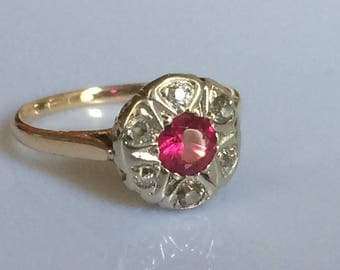 Edwardian Ruby and Mine Cut Diamond Ring in 14K Gold circa 1918