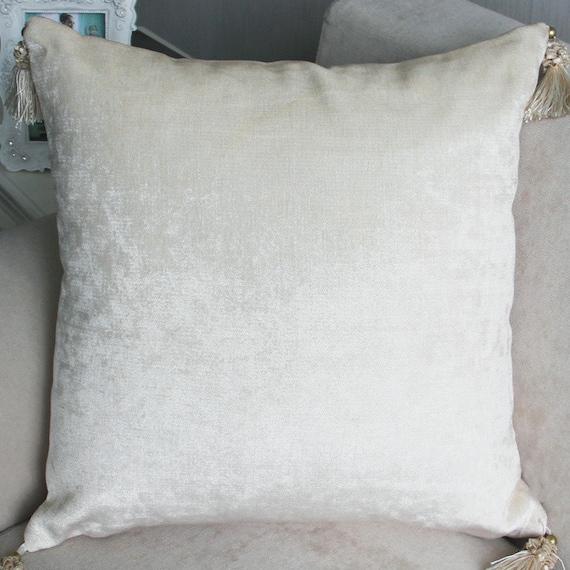 Velvet tassel throw pillow cream cushion cover/cushion