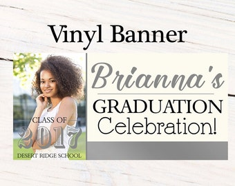 Graduation Class of 2017 Photo Banner ~ Congrats Grad Personalized Party Banners -Classic Graduation Large Banner, Printed Vinyl Backdrop