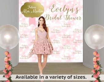 Bridal Shower Sparkle Personalized Photo Backdrop -Wedding Shower Party Photo Backdrop- Custom Photo Backdrop -Step and Repeat Backdrop