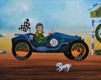Naive art print on handmade paper - Tatran car
