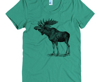Women's Moose Tee - S M L XL Ladies - Black Print, American Apparel T shirt, Moose Shirt, Moose Tee, Nature, Vintage Animals - 15 Colors