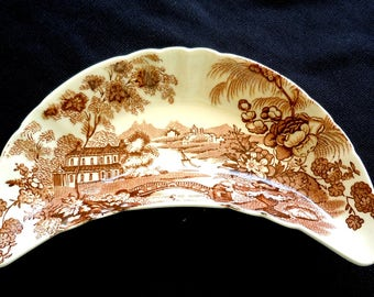 Royal Staffordshire TONQUIN, Clarice Cliff, Brown Transferware, Bone Dish, Pin, Soap, Vintage.