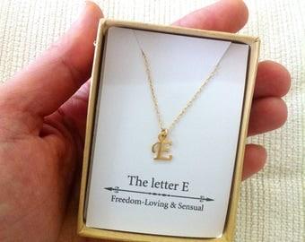 Letter E Necklace, Personalize Necklace, Alphabet Necklace,  Bridal Party, Abcdefghijklm,nopqrstuvwxyz, Tiny Letter Necklace, Gift Idea