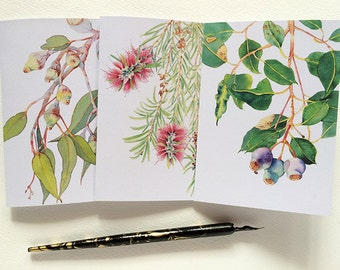 Australian flora greeting cards set - 3 watercolour botanical cards & 3 envelopes - Australian stationary - Australiana snail mail - pen pal