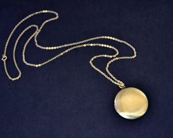 Vintage Round Brass Locket with 30 Inch 14k Gold Filled Chain, Locket Necklace, Locket Pendant, Vintage Locket Jewelry
