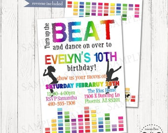 Dance Party Birthday Invitation Printable / DIGITAL Rainbow Sound Bar Party Invite