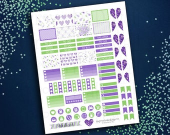 Violets Floral Hearts Purple/Green/White Planner Stickers Mini Kit - PRINTABLE - for SMC personal inserts, other vertical/personal layouts