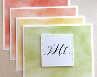 Monogrammed Notecards / Personalized Notecards / Folded - Set of 8