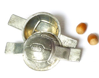 Antique chocolate ball football french tinned iron mold kitchen collection - mould metal Letang Paris decoration Easter candy