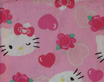 "Hello Kitty  Fabric-Pink-Remnant 1/2 Yard-18""X44"""