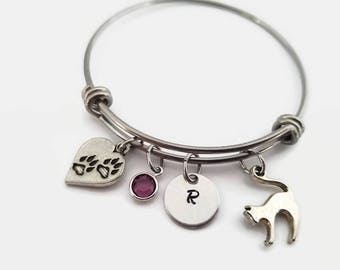 Cat charm bangle - cat bracelet paw charm - Cat lovers jewelry - gift for cat lovers - Personalized bangle bracelet - Initial stamped bangle