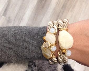 Neutral wrapover bracelet