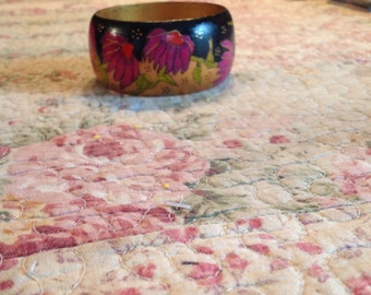 Handpainted wooden bangle