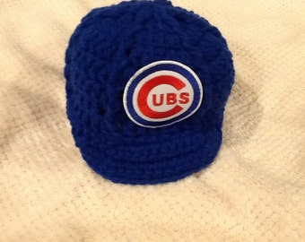 Chicago Cubs Newborn Crochet Baseball Cap - Photographer Prop