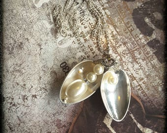 Handmade two silver spoons peas in a pod pendant