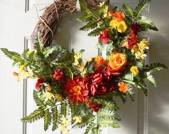 Orange Red Green Wreath, Large Summer Wreath , Door wreath Peonies Roses Chrysanthemum