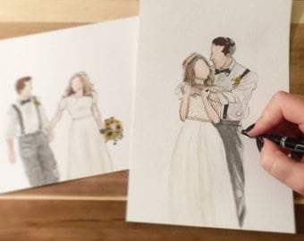 custom watercolor portrait - wedding / anniversary