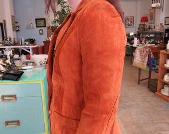 Vintage Orange Suede Jacket Sz S-M