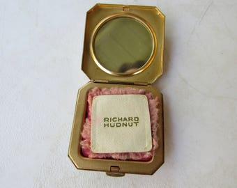 Vintage Richard Hudnut Small Gold Toned Compact with Makeup
