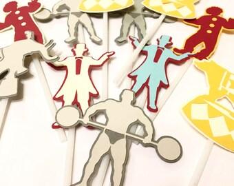 Carnival cupcake toppers, circus cupcake toppers, carnival decorations, carnival birthday, carnival food picks