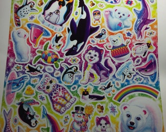 "Lisa Frank Large Sticker Sheet 8"" X 10 1/2"""