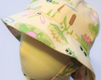 Infant Boy Cotton Sun Hat, Frog Print