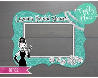 Breakfast at Tiffany's bridal shower / bachelorette photo booth cutout frame prop / Printed & ready to use / Personalized / Oversized frame
