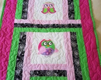 Handmade Owl Applique Baby/Toddler/Child/Tween/Teen Quilt