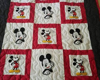 Handmade Mickey Mouse Baby/Toddler/Child/Tween/Teen/Adult Embroidered Applique Quilt