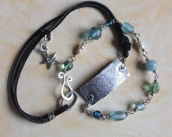 Water Faerie Sterling and Bead Wrap Bracelet or Necklace - Upcycled Vintage Wrap Bracelet or Necklace
