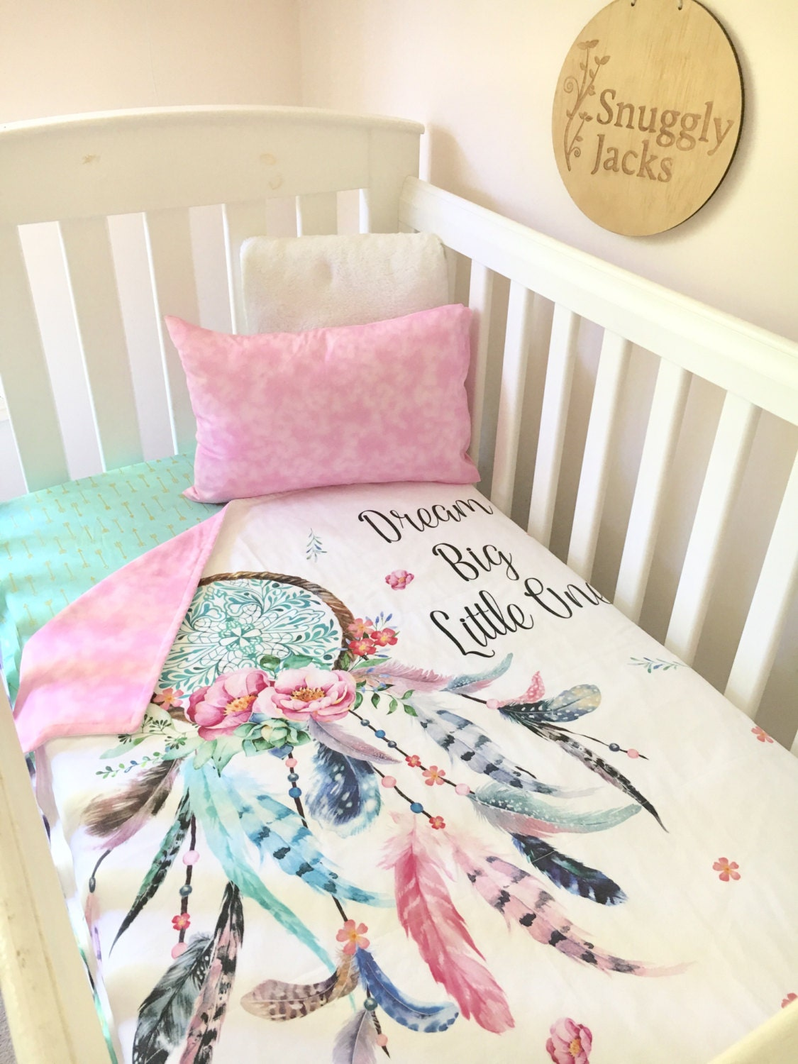 baby cot / crib quilt blanket dreamcatcher baby girl nursery